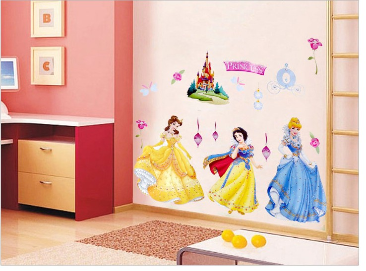 28 cartoon princess wall stickers nursery roommates for Best brand of paint for kitchen cabinets with diy minnie mouse wall art