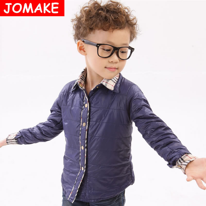 Retail New Children's Clothing Baby Outerwear Winter Jacket Boys/Girl Shirt Collar Tops Plaid Patch Wadded Kids Casual Down Coat(China (Mainland))