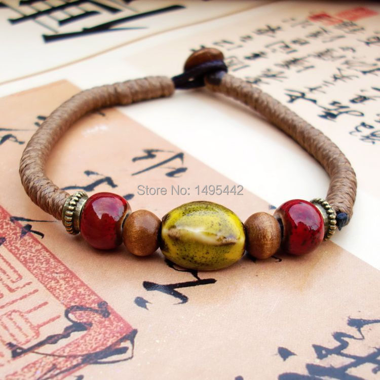 Vintage DIY Ceramic Beads Bracelet Handworked Chain Fashion Chinese Cultural Jewelry Girls - 2015 Ladies Home store