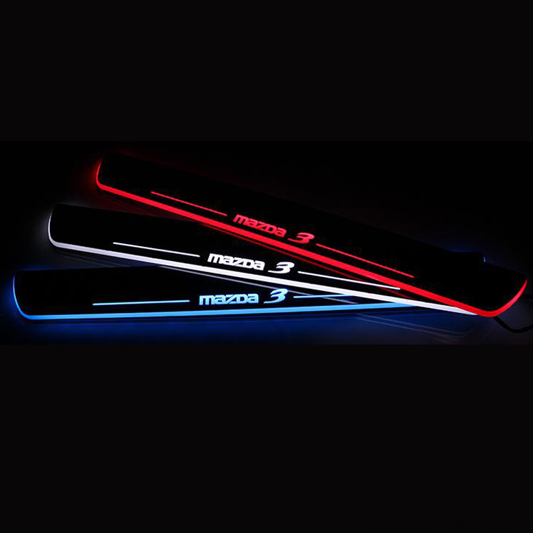 for 2014 Mazda Axela Stainless EWB Steel LED scuff plate door outside sill sills Trim Car Accessories Welcome pedal LED<br><br>Aliexpress