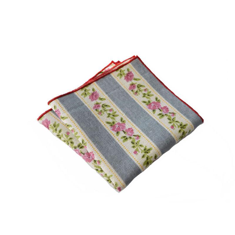 New Fashion 24cm Cotton & Linen Pocket Square Striped & Print Handkerchiefs Women Hanky Wedding Party Pocket Towel for Mens Suit(China (Mainland))