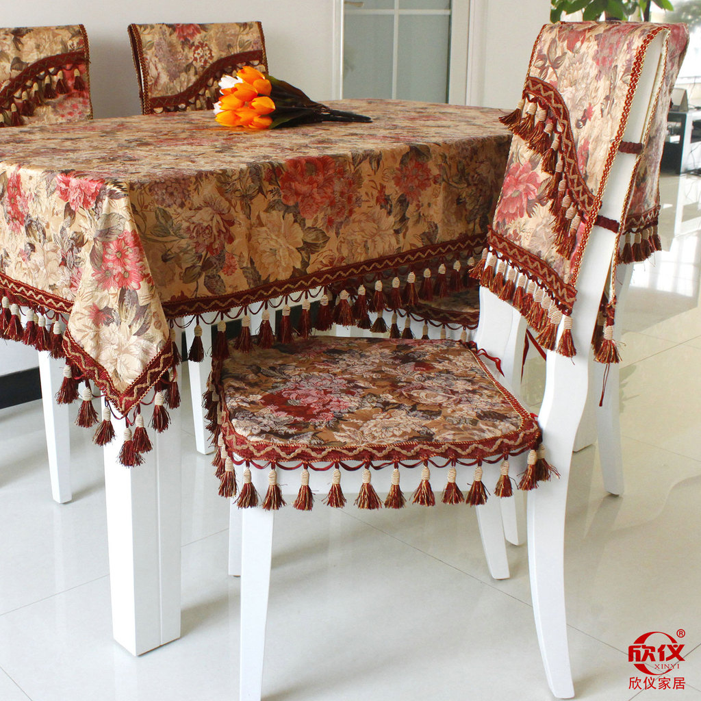 High quality customization tablecloths European style velvet flowers printing table mats chair covers sets(China (Mainland))