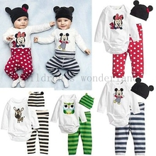 2016 summer 3Pcs (Long-sleeved Romper+hat+pants) Baby Boys clothing set Cartoon owl Mickey mice printed Baby Girls Clothes Suit(China (Mainland))