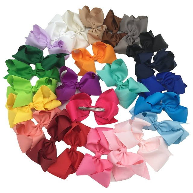 32pcs/lot 6inch Big Hair  Ribbon Bows Girls' Hair Accessories Bow for Hair  with Clip  Hot Selling Bows for Girls Baby Bows