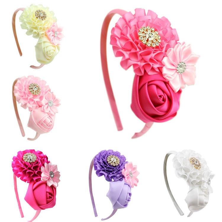 1 pieces new Baby Girl Ruffles pink Flower Hair flower band kids Headband Girl's Accessories children accessories - Supermarket store