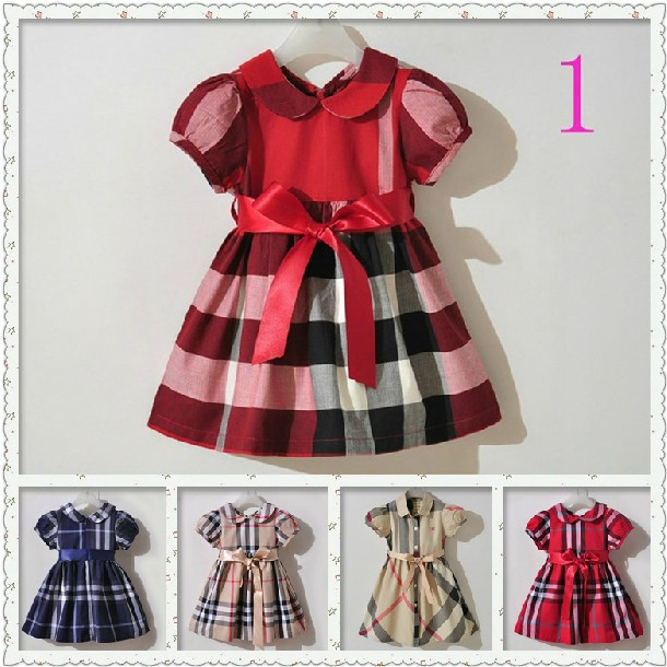 2014 fashion summer beautiful girl clothes baby girls cotton plaid short sleeve dresses brand name kids cotton casual dress 5pcs<br><br>Aliexpress