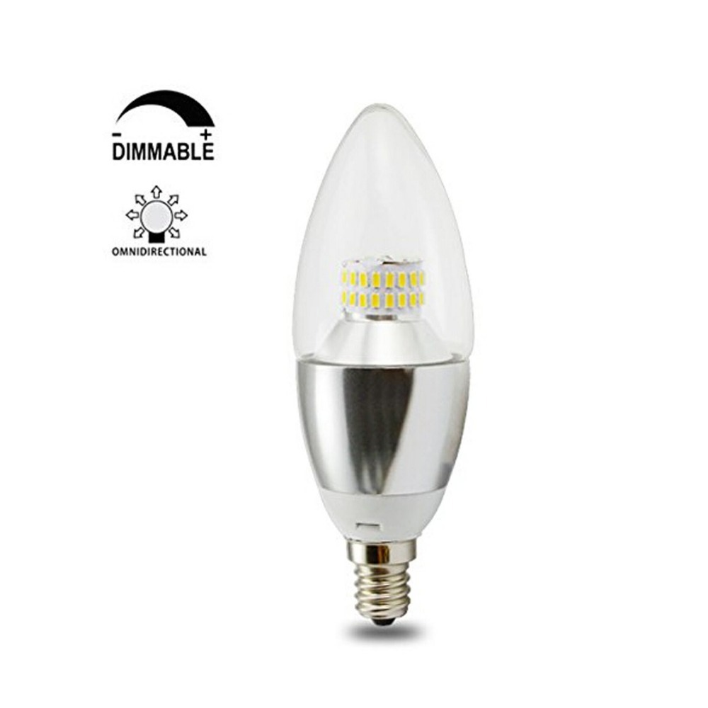Dimmable LED E12 Candle Light Bulb 40W-60W Incandescent Bulb Equivalent,Cool White &Warm White,Silver Lamp Body(China (Mainland))