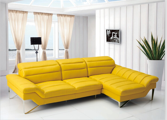 Woonkamer L Vorm : Yellow Leather Sectional Sofa