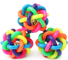1pcs colorful ball pet toy dog toy cat toy with bell for small medium large dog Chihuahua Poodle pet product Rubber Round Ball