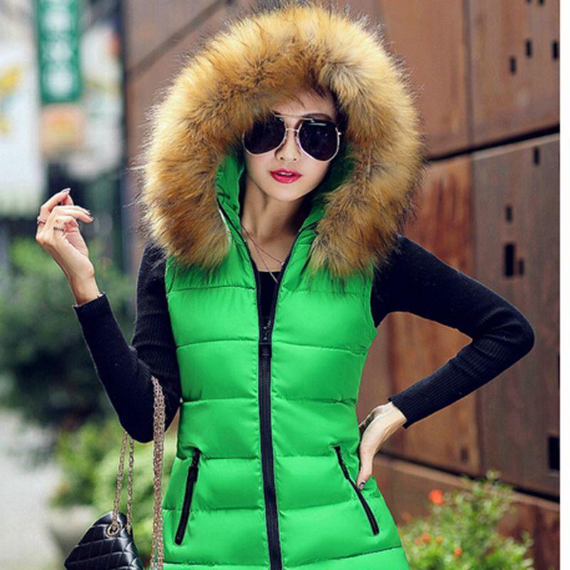 2015 меховой воротник свободного покроя 6 цветов Colete Feminino зимние пальто искусственный молнии с капюшоном жилет верхняя одежда женщин CC2203S