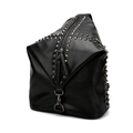 Fmaous Brand Edgy 2016 New Backpack Fashion Rivets Inlaid Zipper Bag Solid Color Women Designer High