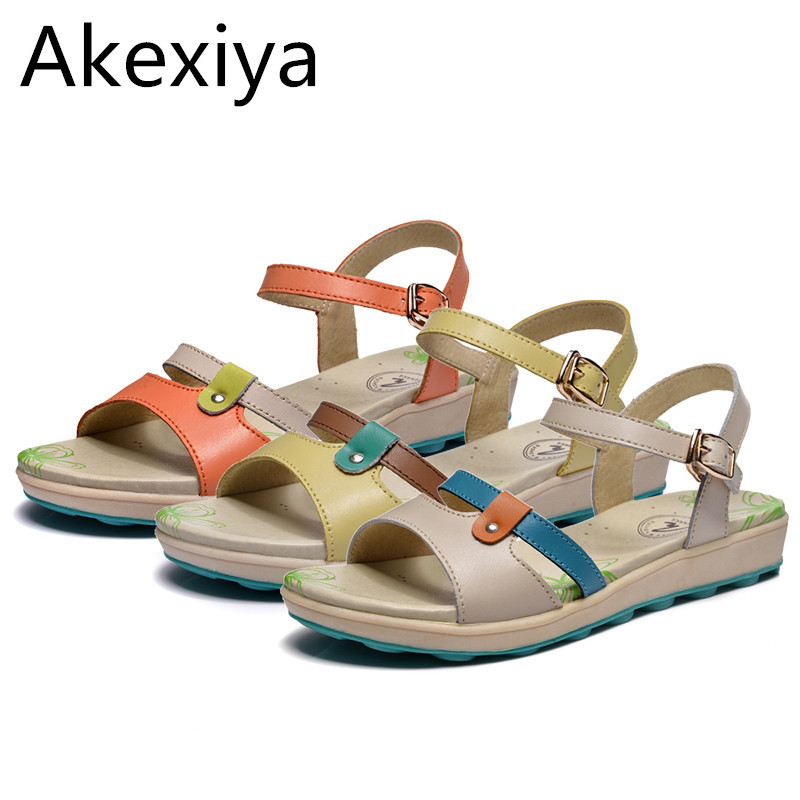 Akexiya Blue Kaka 2017 Genuine Leather Flat Sandals Female Flat Heel Sandals Casual Beach women's Shoes Free Shipping(China (Mainland))