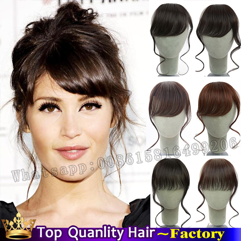 Clip on Front short Neat Bangs Fringe clip in Hair Extensions women natural curly hair Bangs/Fringes Long sides fake hairpiece(China (Mainland))