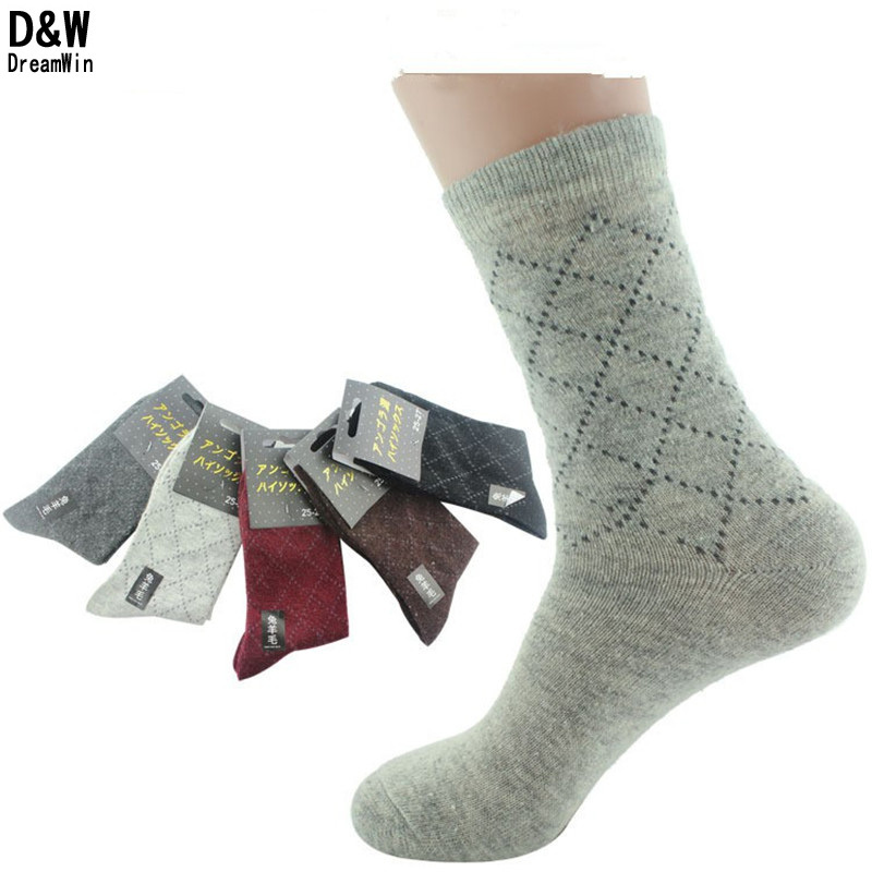 D&W(5Pairs/lot)Men Winter Thicken Wool Warm Socks Brand Classical Business Black/Gray/Red Male In Tube Casual Socks Meias(China (Mainland))