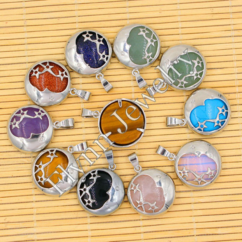 Natural Gem Stone Beads Silver Plated Star Moon Reiki Pendant Charms Expedite healthy Sleep Amulet Jewelry 10pcs Mix Order