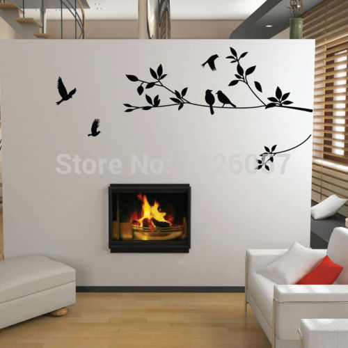 vinyl wall art decor black birds tree branches sticker