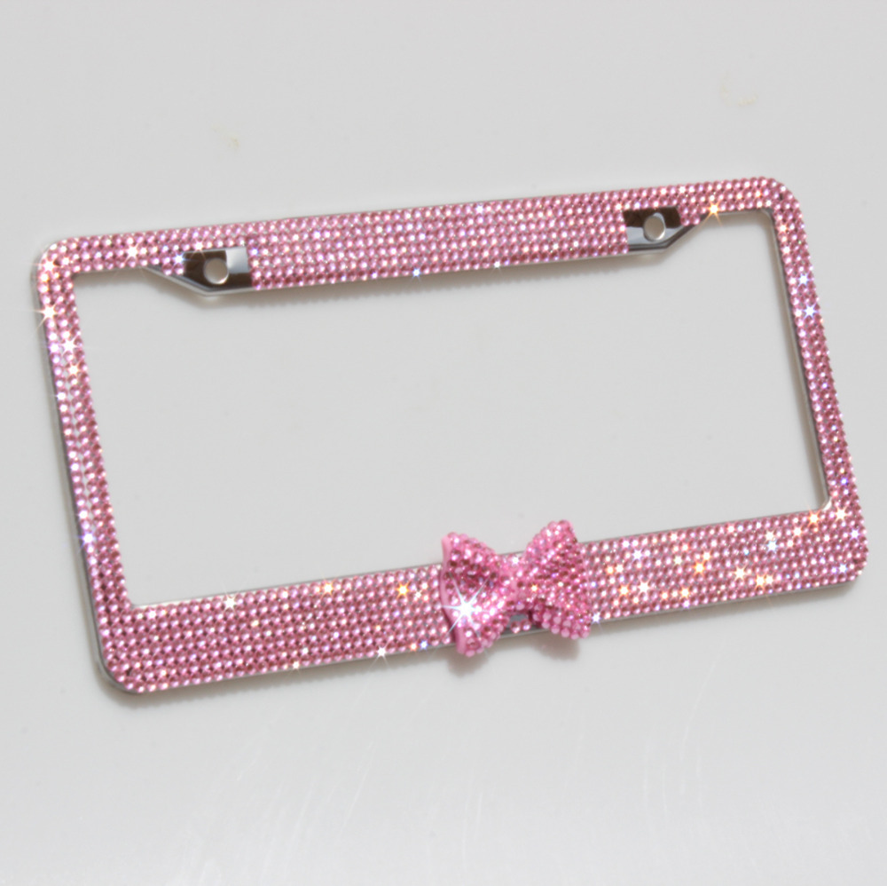 usa fashion 7 row bling bling rhinestones stainless steel license plate frame with pink bowtie. Black Bedroom Furniture Sets. Home Design Ideas