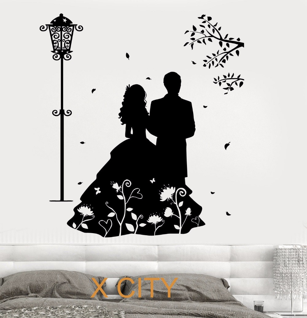 Romantic Lovers Marry Wall Art Decal Sticker Removable Vinyl Transfer Stencil Mural Home Decor S M L(China (Mainland))