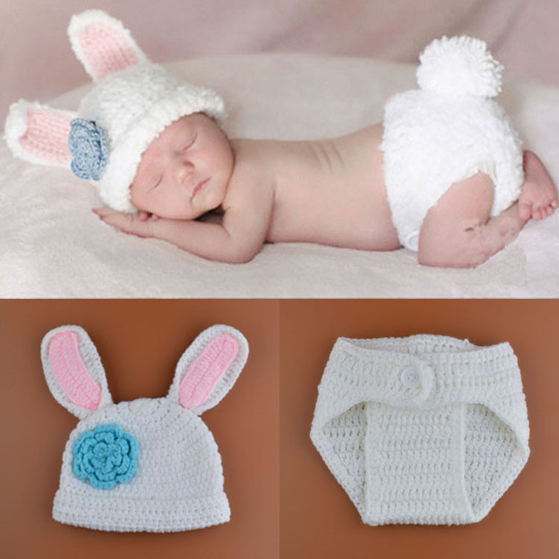 2015 New Crochet Baby Bunny Rabbit Hat and Diaper Cover Set Newborn Easter or Halloween Photo Prop Knitted Costume Set H188(China (Mainland))