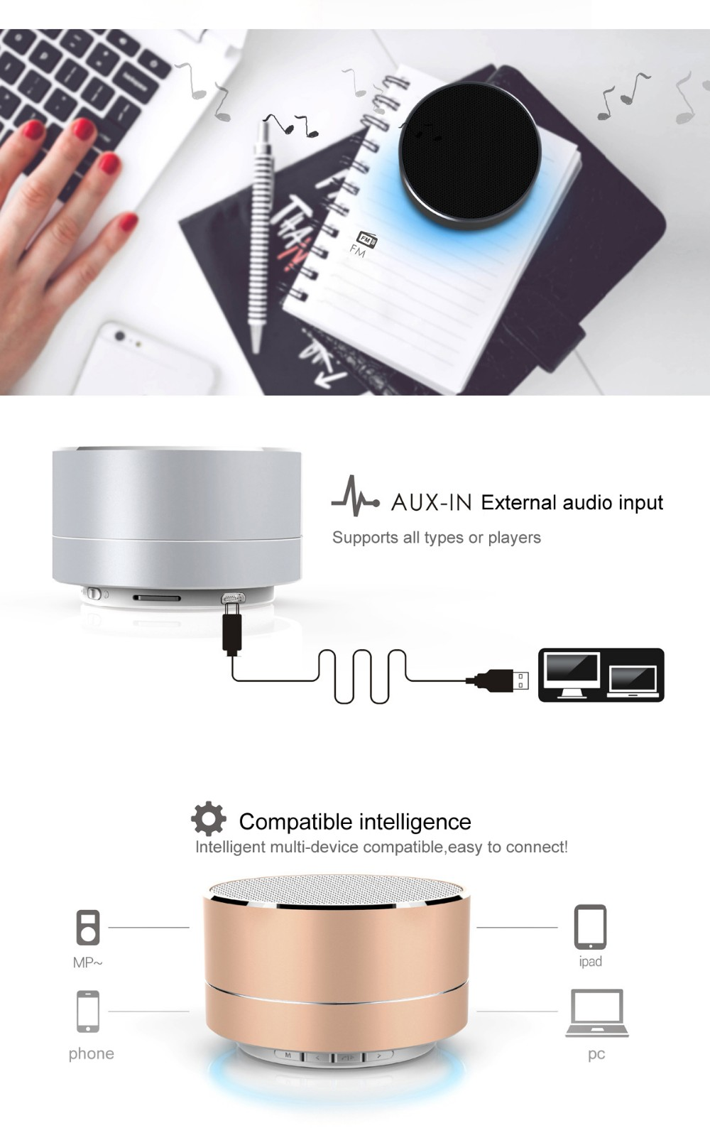 Mini Portable A10 Wireless Bluetooth Speaker Subwoofer support TF AUX FM Radio Car Handsfree Call Music For iOS Android Phone