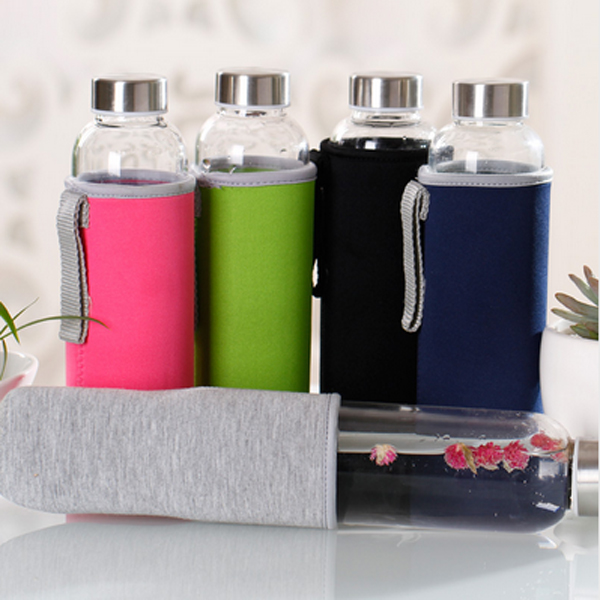 Glass Water Bottle with protective bag 280ml,360ml,550ml Drinking glass teapot sports travel bottles(China (Mainland))