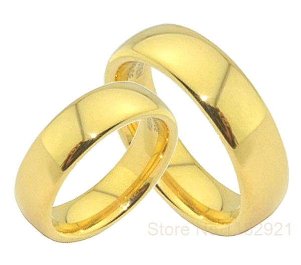 cheap classic gold plated wedding band rings his and