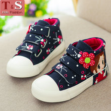 2016 New Children Girls Canvas Shoes For Kids Girls Boots Breathable Floral Flat High Shoes Casual Leisure Girls Shoes EU25-35(China (Mainland))