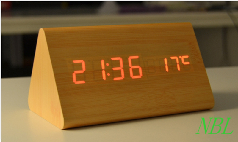 LED Bamboo Wooden Desk Alarm Clock Sound Control Sensing And Snooz/ Thermometer With Package Box 100% High Quality Hot Sale(China (Mainland))