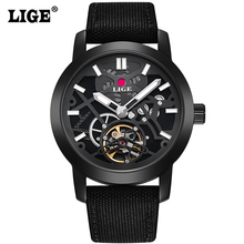 LIGE Brand Men's watches Fashion Casual Automatic Watch Men Waterproof Military Wrist watches Man Canvas strap Black Clock