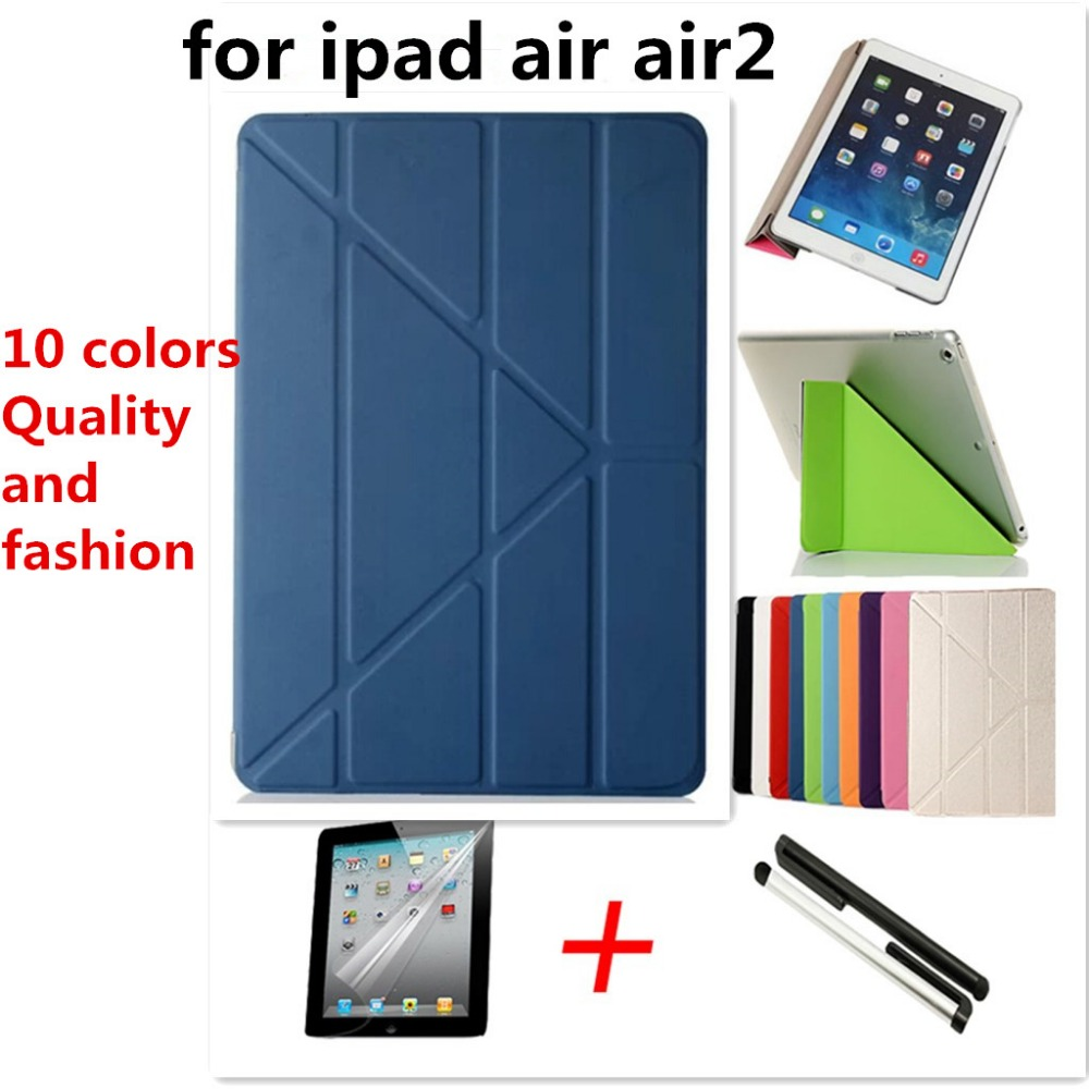 Hot sale 5 support way! for ipad air air 2 Smart Case Original 1:1 Tablet Leather For Apple ipad Gift Screen film+capacitor pen(China (Mainland))