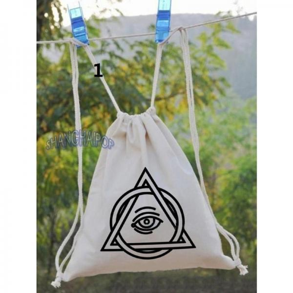 Eye Triangle Patterned Shoulder Bag Retro Canvas Drawstring Tote Backpack Unisex(China (Mainland))