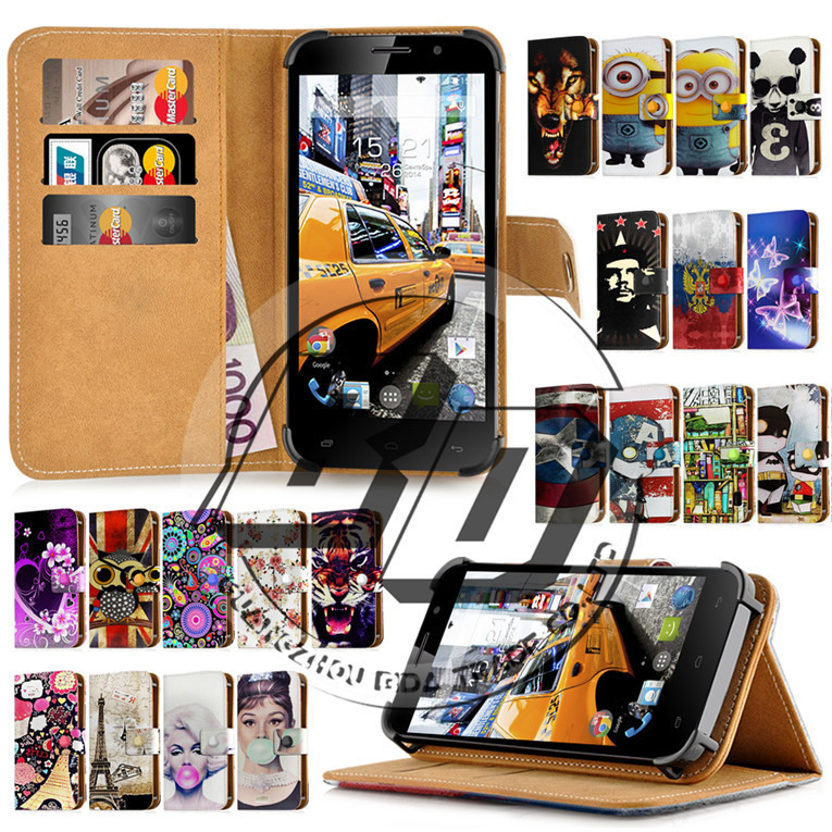 """Fly IQ4504 EVO Energy 5 Case 5"""" Universal Hot Print Card Holder Stand Wallet Leather Cover Bag Case Protection Fly IQ 4504 +Gift(China (Mainland))"""