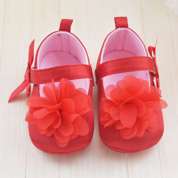 Cute Red Flower Princess soft baby shoes for girl baby shoe 3 size to choose