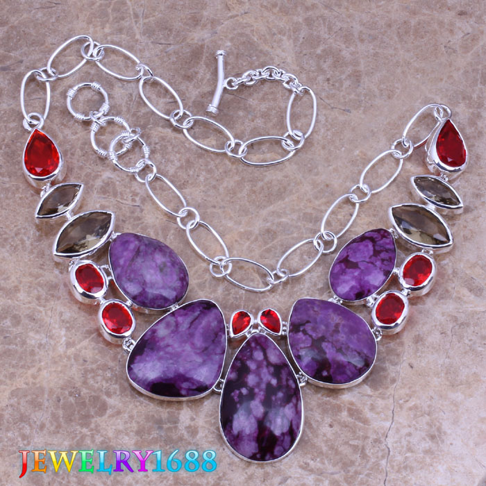 Glamorous Purple Natural Stone Red Garnet 925 Sterling Silver Overlay High Quality Grade Fashion Jewelry Necklace L578