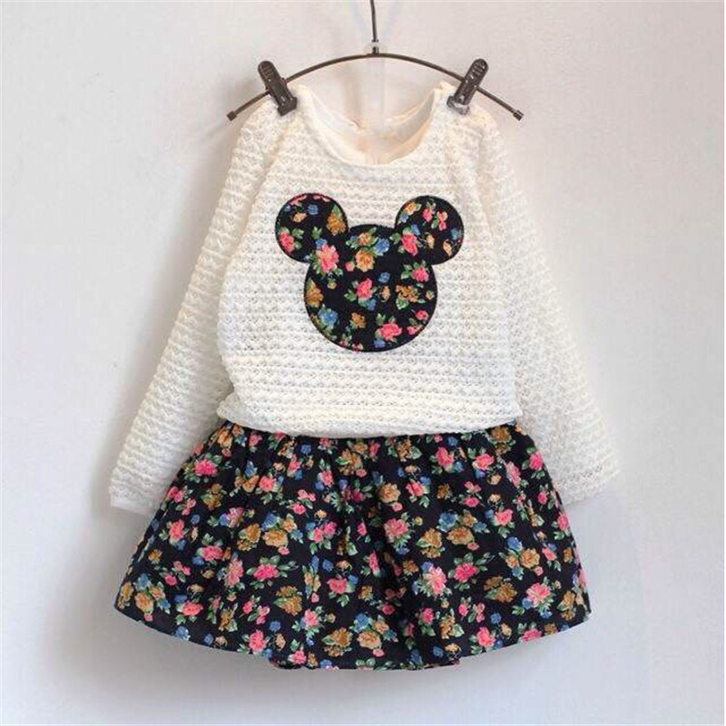 New Fashion Spring Autumn Girls Clothing Sets Froral Dress + Lace Minnie Tops Tees Baby Kids Clothes Children Clothing, 2-7age(China (Mainland))