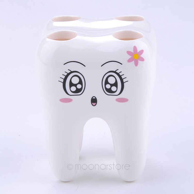 Cartoon Cute 4 Hole Fashion Tooth Style Toothbrush Holder Bracket Container for Bathroom Free Shipping zx*UCMPJ434#s8(China (Mainland))