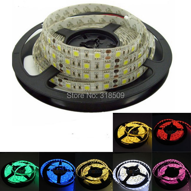 60leds Per Meter Total 5 Meters IP65 Waterproof LED Strip 5050/3528/5730 SMD White,Warm White,Red,Green,Blue,Yellow,RGB(China (Mainland))