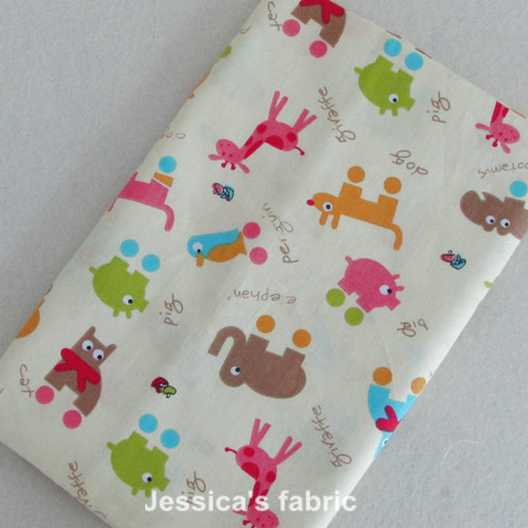 New cartoon cute animal printed baby bedding home textile for Upholstery fabric for baby nursery