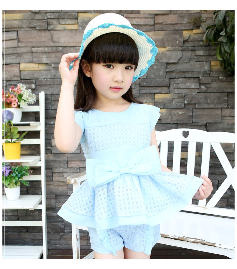 2016 new summer girl's clothing set girl's shirts and pant children's clothing set blouses and trousers girls summer dress 16368