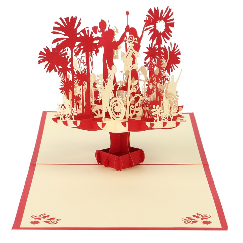 3D Handmade Kirigami Origami Greeting Cards Red Couple Wings Pop UP Invitations Birthday Wedding Decoration Gifts(China (Mainland))
