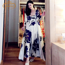 Free Shipping  Women's Long Robe Royal Purple Blue Sleepwear Silk Flower Satin Nightgown Two Pieces Set(China (Mainland))