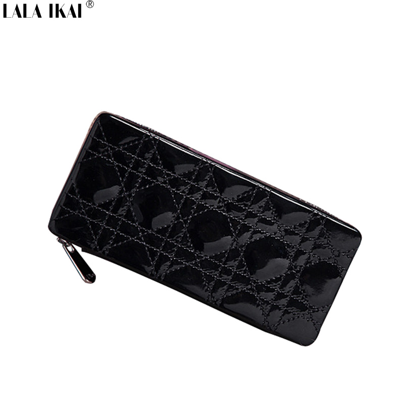 Famous Brand Miss Cosmetic Cases Patent Leather Girl's Clutches Fashion Toiletry Kits Bag Ladies Plaid Small Handbags BWF0189-5(China (Mainland))