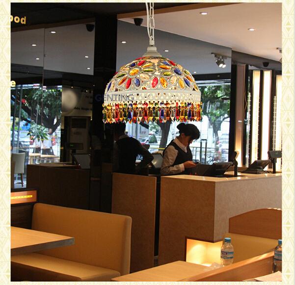 100%quality exotic southeast Asia bohemia tiffany colorful crystal 31*31*25cm led e27 pendant light for entrance foyer hotel1694(China (Mainland))