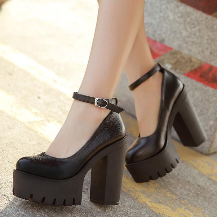 Free shipping 2015 new spring autumn casual high-heeled shoes sexy ruslana korshunova thick heels platform pumps Black and White(China (Mainland))