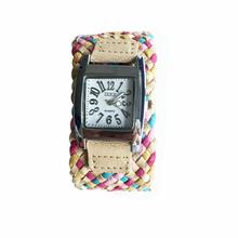 Fashional nueva marca hechos a mano trenzado pulsera pulsera de la amistad tejida a mano Ladies relojes de cuarzo gris