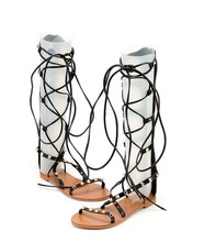 2016 leather knee high boots plus size 35-40 classic Roman gladiator sandals Summer rivet Flat shoes cross lacing Toe sandals