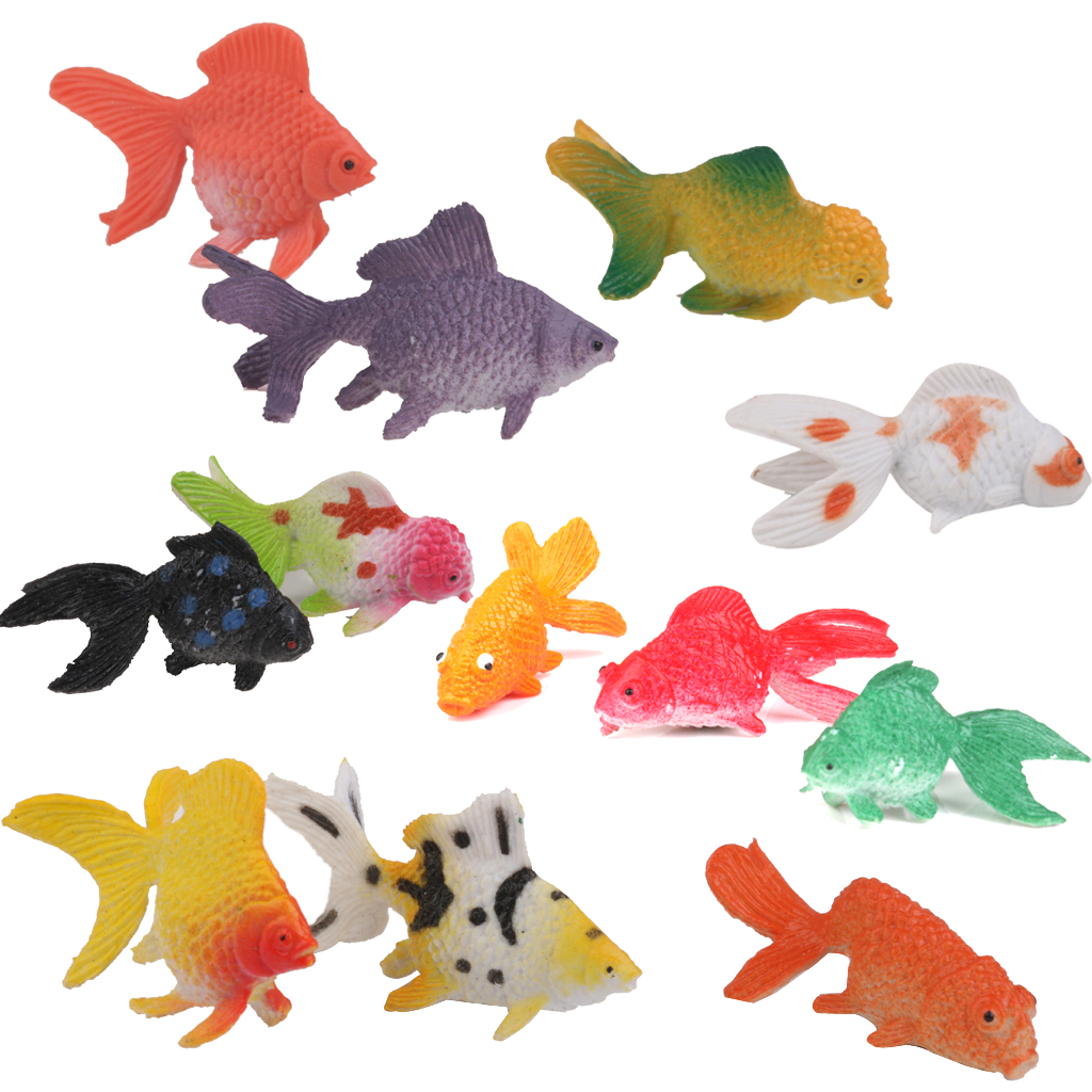 Plastic Artificial Goldfish Animals Toy 12pcs Colorful Goldfish Model Building Kits Toys Supplies Accessories Creative Gifts(China (Mainland))