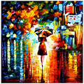 Top Artist High Skill Hand Painted Colorful Knife Palette Oil Painting on Canvas Handmade Girl Walk