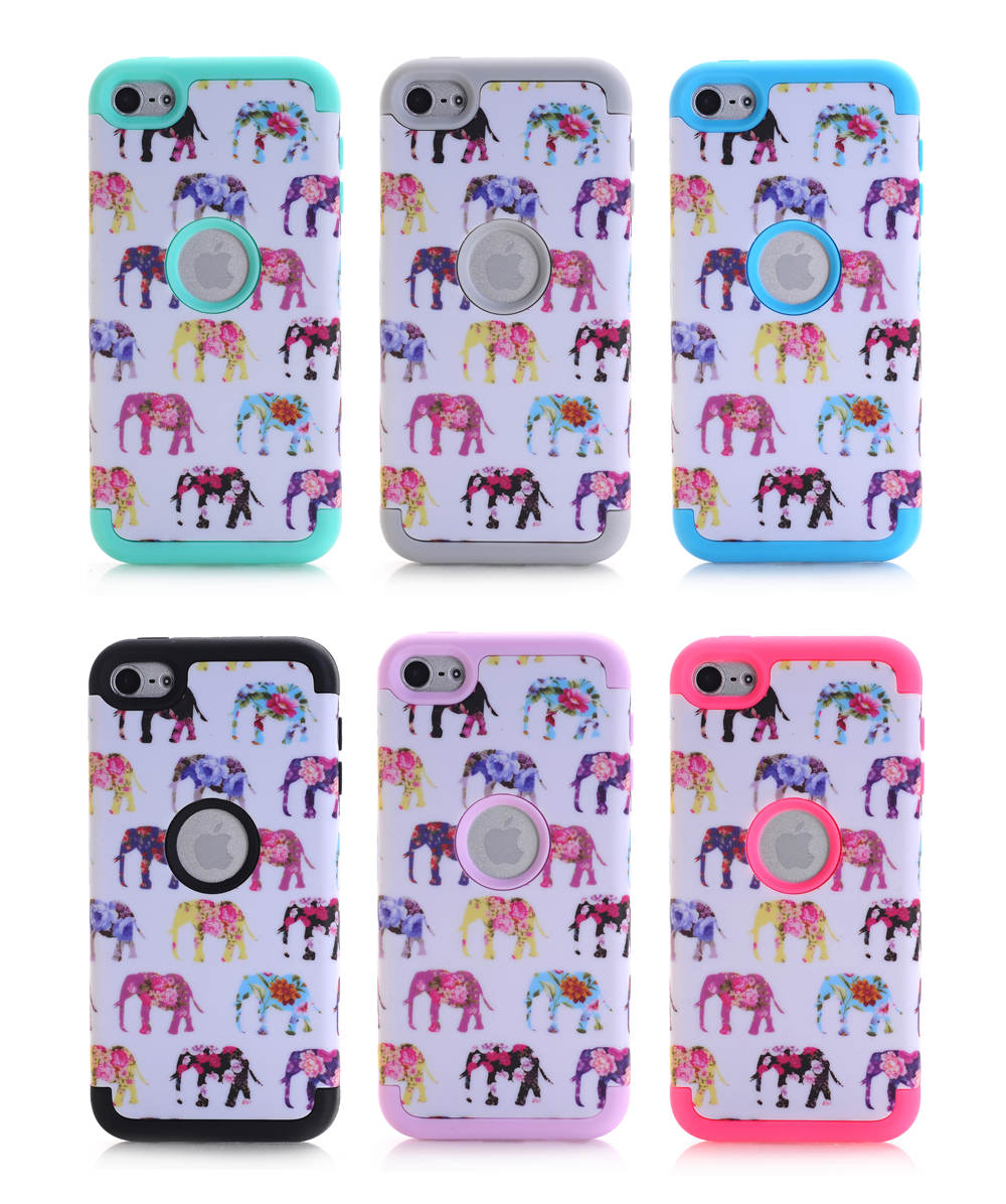 For Apple iPod Touch 6 Touch6 Case Elephant Design 3 in 1 High Impact Heavy Duty Hard Rugged Rubber Pink Case Cover(China (Mainland))
