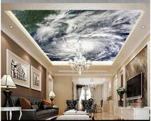 Custom 3d photo wallpaper 3d ceiling murals wallpaper Hd typhoon cloud image satellite imagery ceiling decoration living room